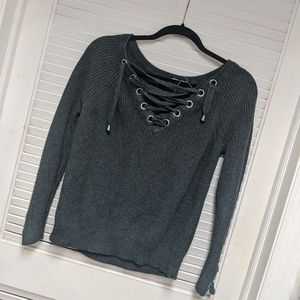 Cable and grunge  tie up sweater